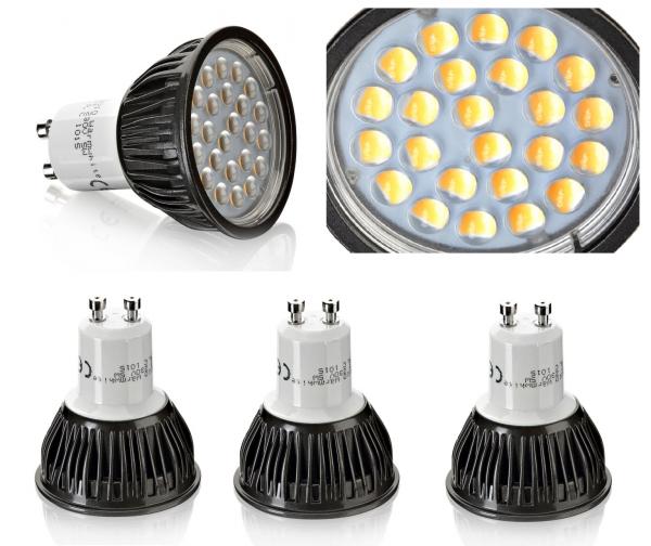 3er SET 24 LED/SMD - 5W wie ca. 50W - GU10 kaltweiss kalt weiss - 6000k-6500k A+