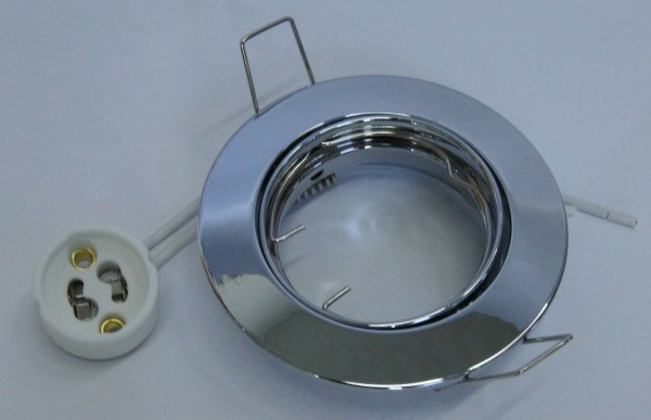 E4435-4 Druckguss Einbaustrahler Chrom glänzend inkl. GU10 Fassung zB. für LED