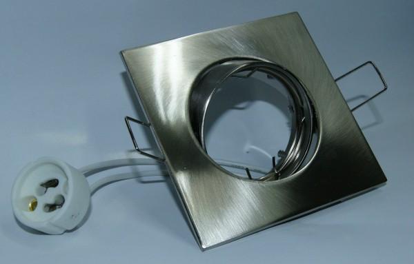 E4439-5 Druckguss Einbaustrahler 4 eckig Chrommatt ideal für LED