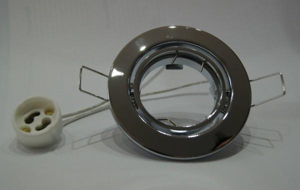 10 x Einbaustrahler Set Chrom / glänzend inkl. 10 x GU10 Fassung 230 Volt