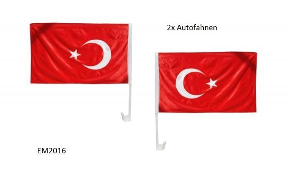 2x Autofahnen Auto Fahnen Türkei / Türkiye - EM2016 WM2018 Hochzeit Dügün